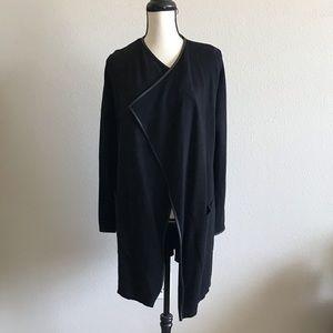 Zara Stylish Open Cardigan with Leather Trim